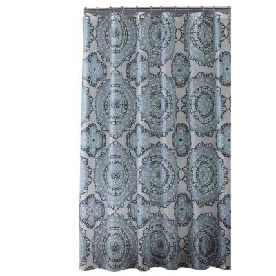 PEVA 70 in. x 72 in.  Blue and Green Mandula Design  Shower Curtain