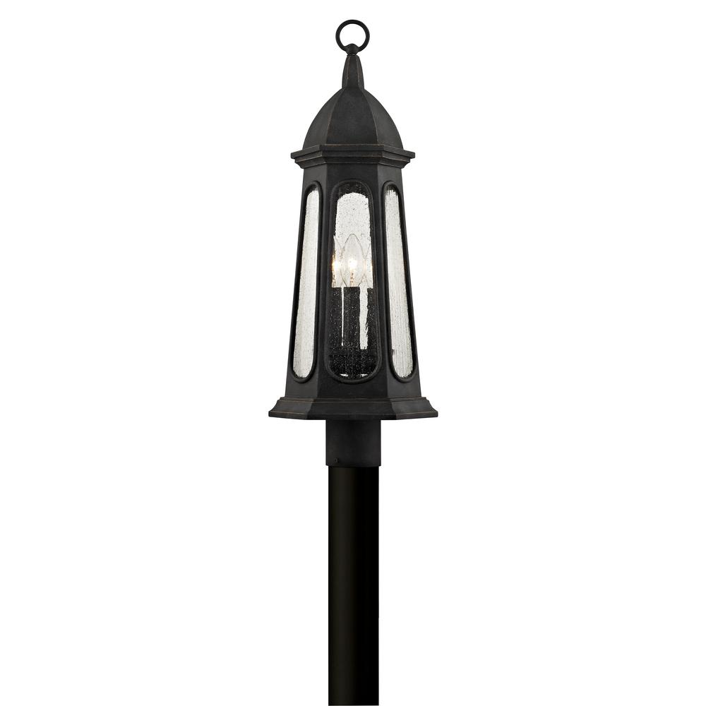 Astor 3-Light Vintage Iron 21.75 in. H Outdoor Post Light with