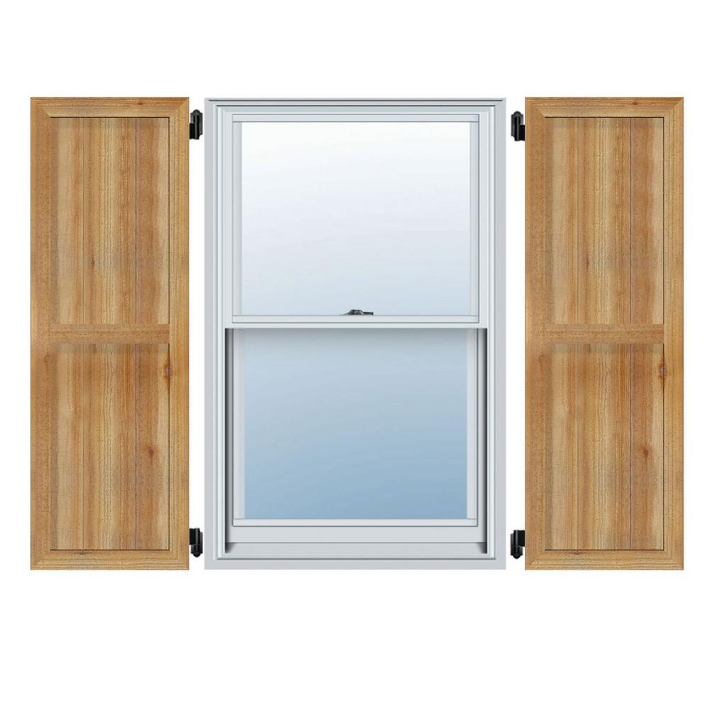 16-1/8 in. X 59 in.Timbercraft Rustic Wood Three 5-3/8 in.Framed Board and Batten Shutters Rough Sawn Cedar (Per Pair)
