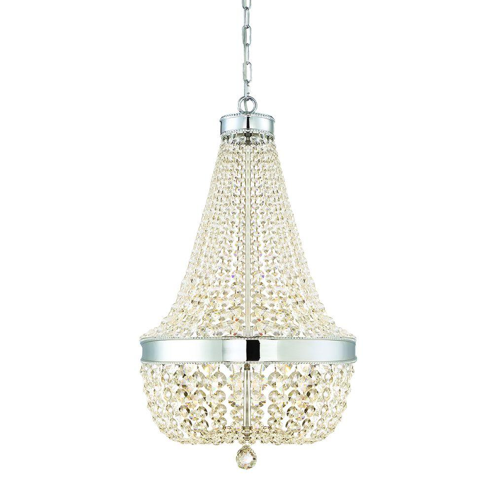 Home Decorators Collection 6 Light Chrome Crystal Chandelier 30331 Hbu The Home Depot
