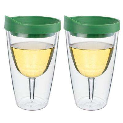 2-Piece Verde Green Double Wall Acrylic Insulated Wine Tumbler Set