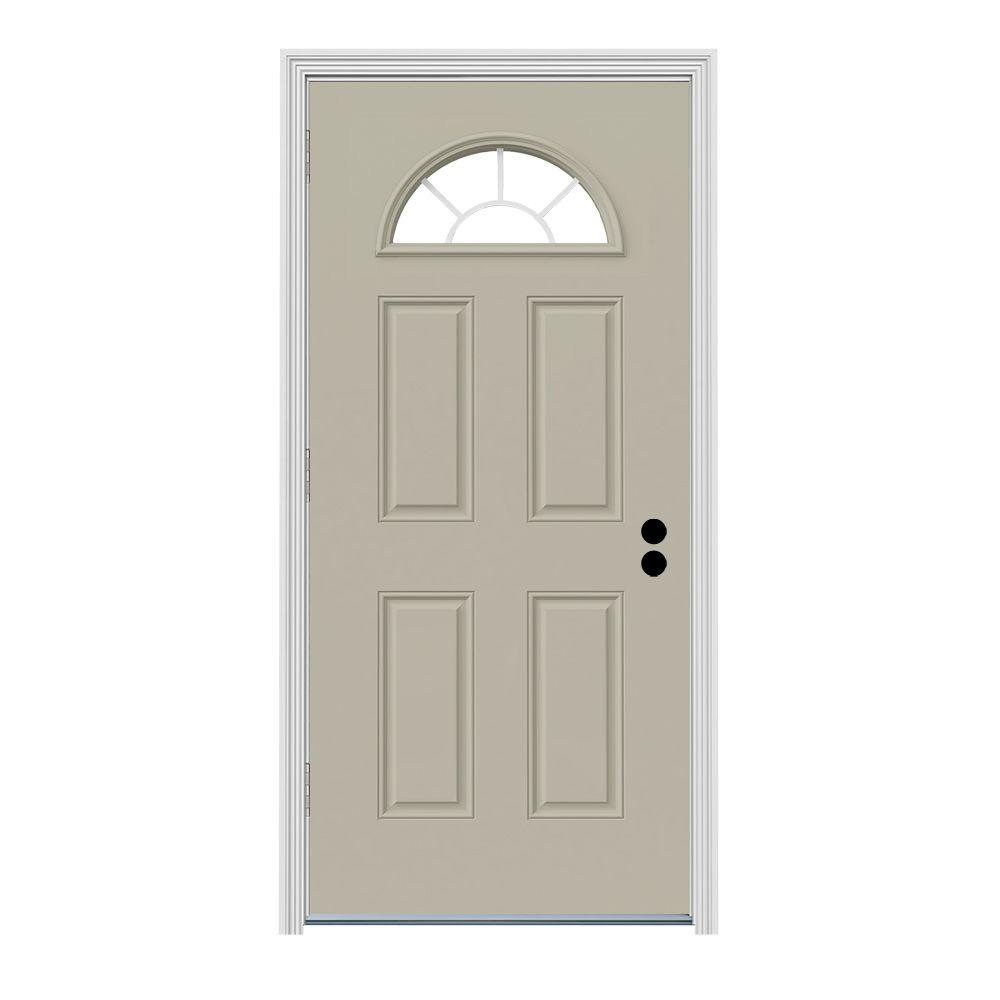 JELD-WEN 36 in. x 80 in. Fan Lite Desert Sand Painted Steel Prehung Right-Hand Outswing Front Door w/Brickmould