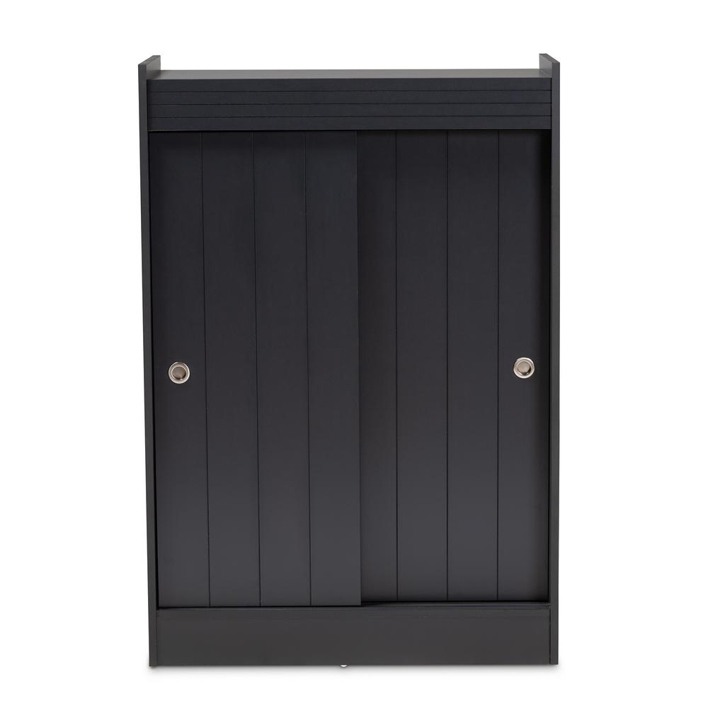 Baxton Studio Leone 45 In H X 31 W 18 Pair Charcoal Wood Shoe Storage Cabinet