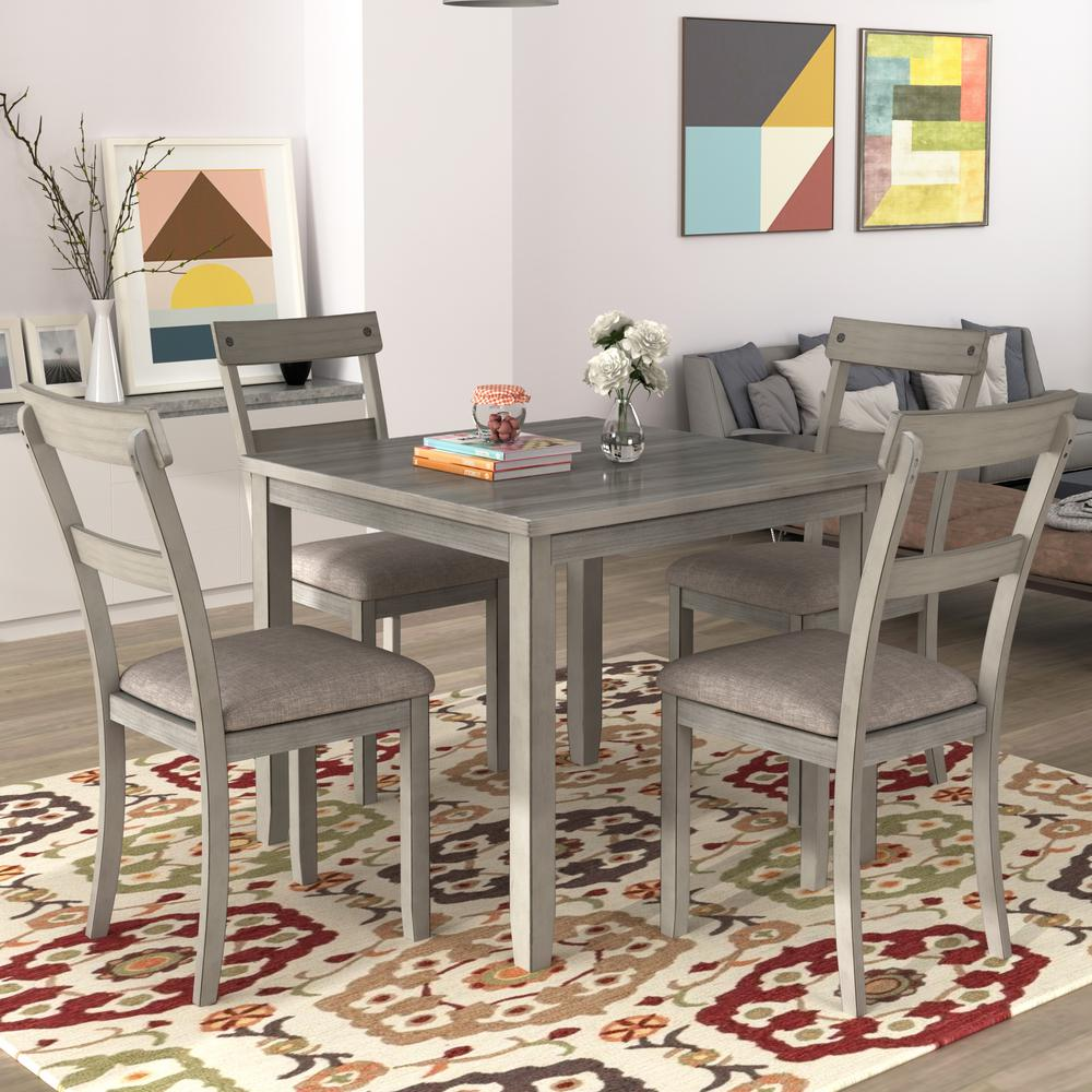 Harper & Bright Designs Light Gray 5-Piece Industrial Wooden Dining Sets was $549.99 now $377.99 (31.0% off)