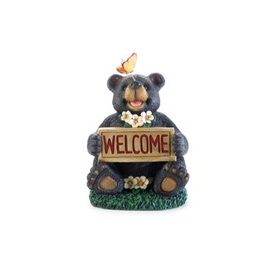 11.7 in. H Solar Welcome Bear with Butterfly