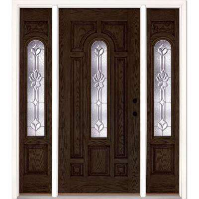 67.5 in.x81.625 in. Medina Zinc Center Arch Lite Stained Walnut Oak Left-Hand Fiberglass Prehung Front Door w/ Sidelites