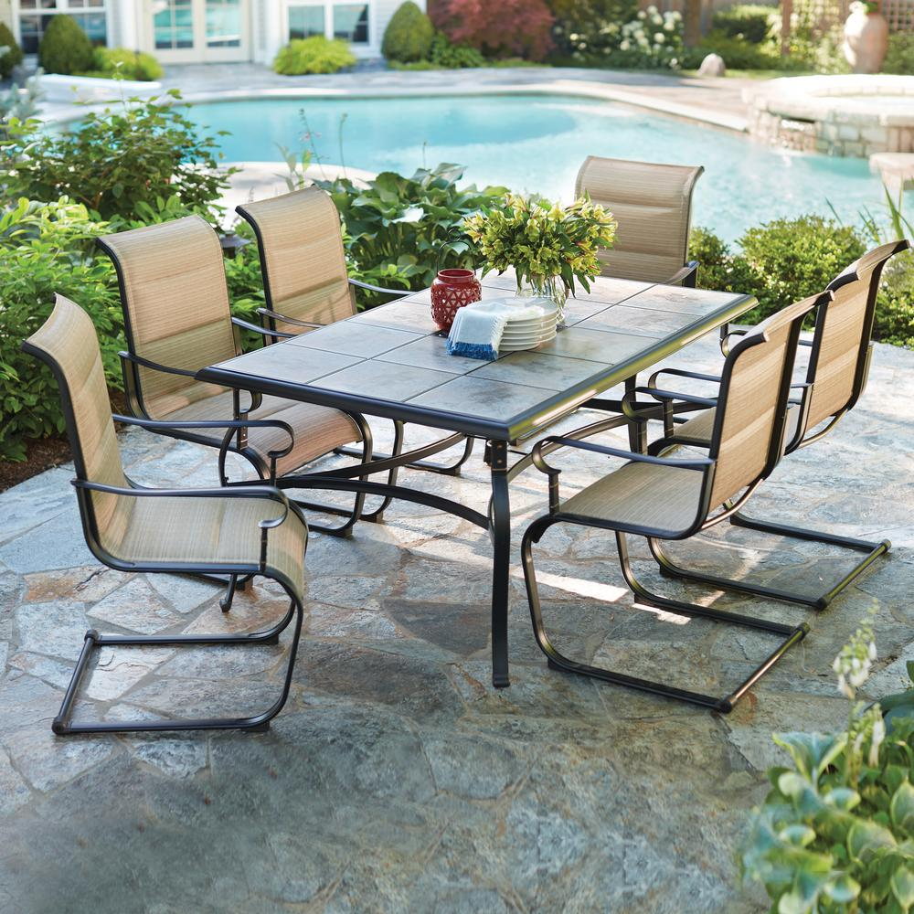 hampton bay belleville 7 piece padded sling outdoor dining set rh homedepot com  outdoor rectangular dining table & chair set cover