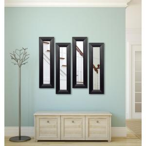 11.75 inch x 39.75 inch Stitched Black Leather Vanity Mirror (Set of 4-Panels) by