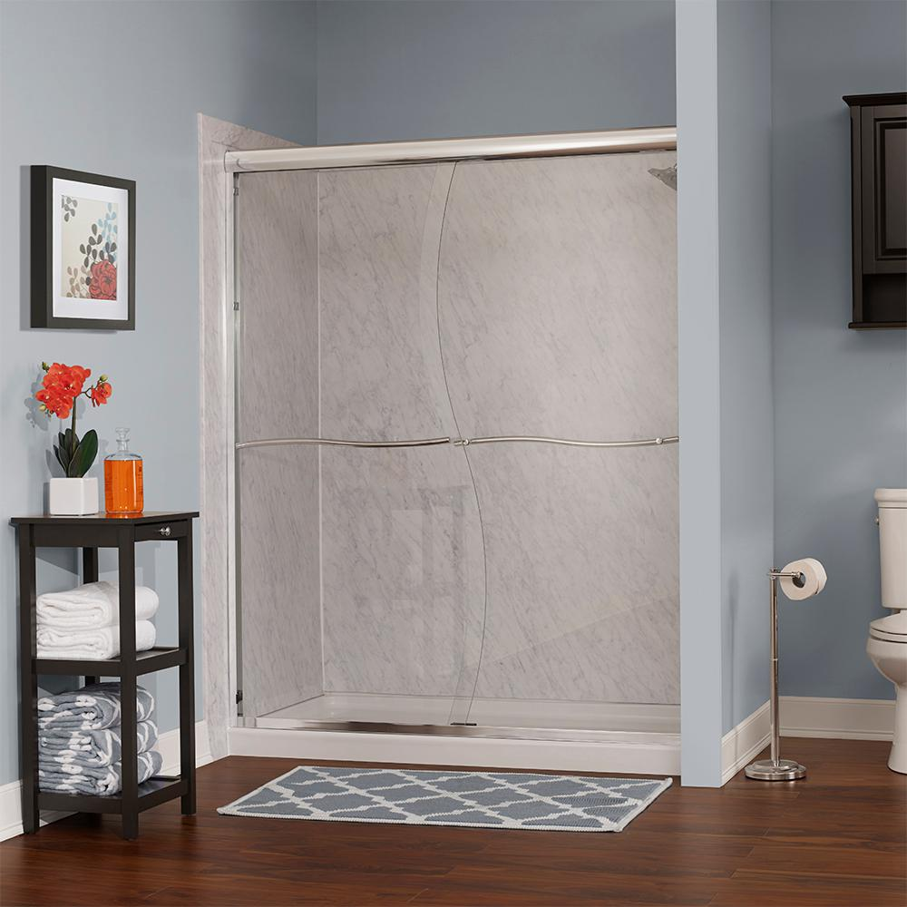 Foremost Cove 48 in. W x 72 in. H Frameless Sliding Shower Door in Brushed Nickel