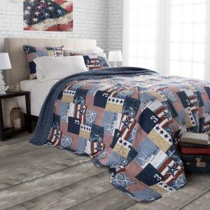 Patriotic Blue Striped and Plaid Queen Quilt