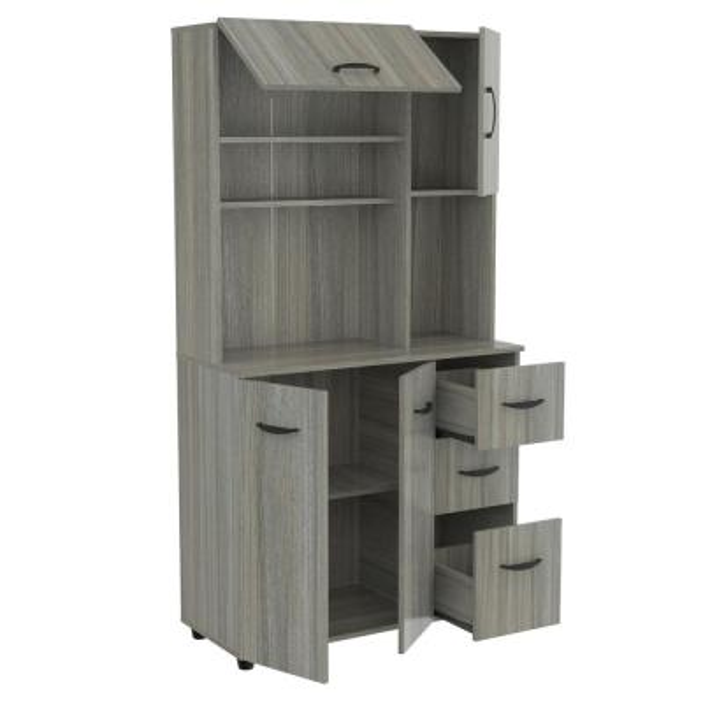 Ready to Assemble 35 in. W x 66.1 in. H x 15.4 in. D Microwave Storage Utility Cabinet in Smoke Oak