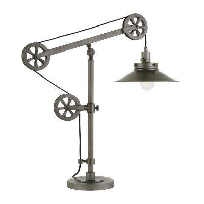 Descartes 29 in. Aged Steel Wide Brim Table Lamp with Pulley System