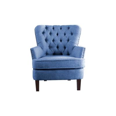 Blue Color Button Tufted Accent Chair with Nailhead