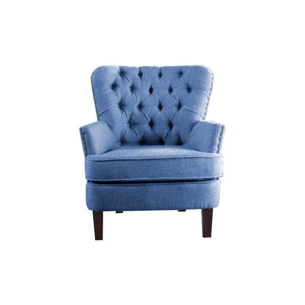 Blue Color Button Tufted Accent Chair with Nailhead 92005-16BL