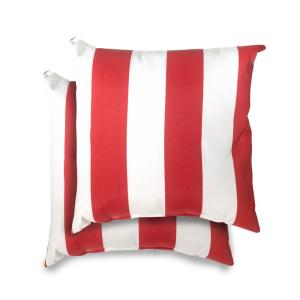 18 in. x 18 in. Red Cabana Stripe Square Outdoor Throw Pillow (2 Pack)