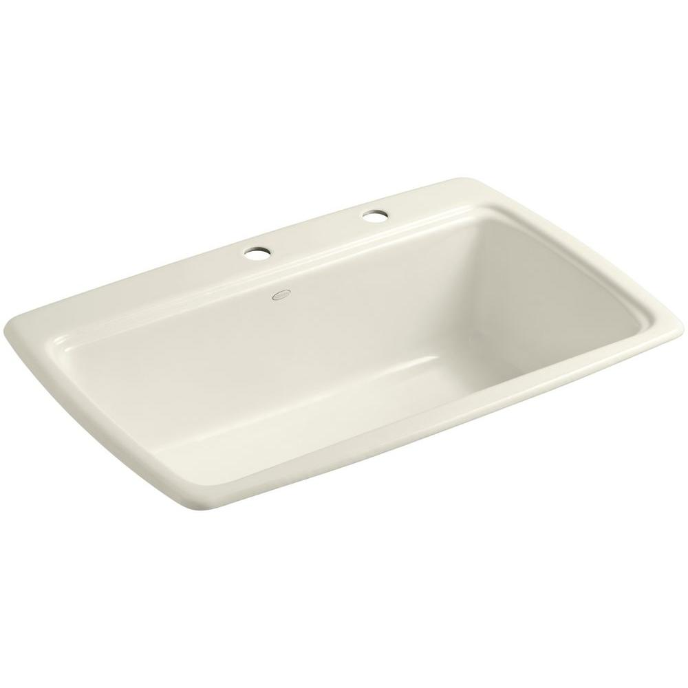 KOHLER Cape Dory Drop-In Cast-Iron 33 in. 2-Hole Single Bowl Kitchen Sink in Biscuit