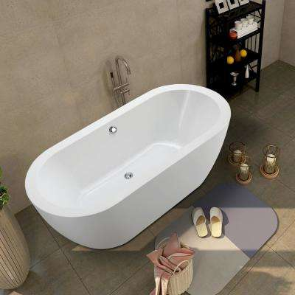 Cergy 67.7 in. Acrylic Flatbottom Freestanding Bathtub in White