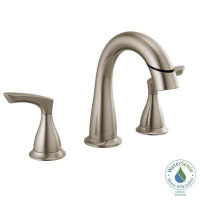 Broadmoor 8 in. Widespread 2-Handle Bathroom Faucet with Pull-Down Spout in SpotShield Brushed Nickel