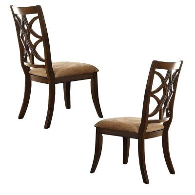 Cherry Brown and Beige with Beige Fabric Seat Solid Wooden Side Chair (Set of 2)