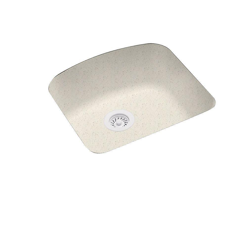 Swanstone Undermount Solid Surface 20 9 In 0 Hole Single Bowl Kitchen Sink Tahiti
