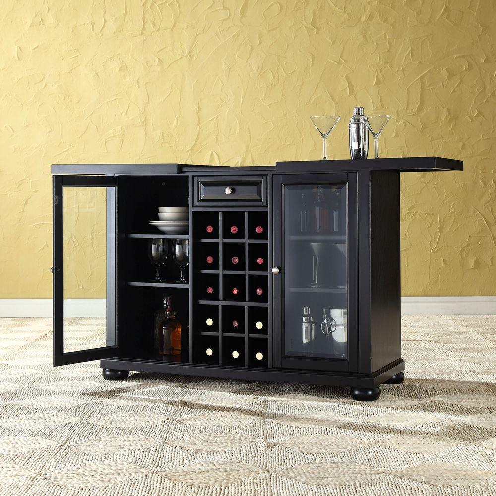 Alexandria Black Bar with Sliding Top