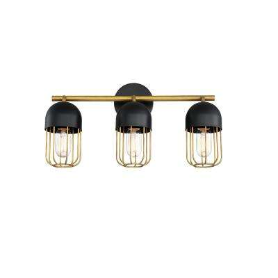 PALMERSTON 20 in. 3-Light Matte Black Vanity Light with Gold Shade