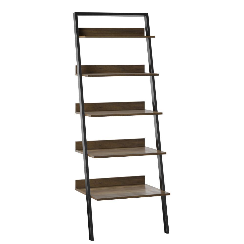 80 in. Plainview Walnut Wood 5-Shelf Leaning Bookcase Open Back