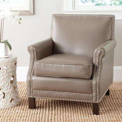 Easton Clay/Espresso Bicast Leather Club Arm Chair