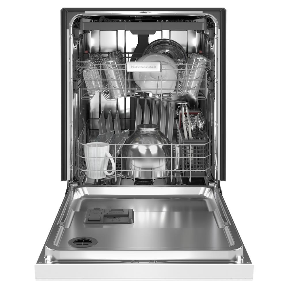 Kitchenaid 24 In Front Control Tall Tub Dishwasher In White With Stainless Steel And Third Level Utensil Rack Kdfe204kwh The Home Depot