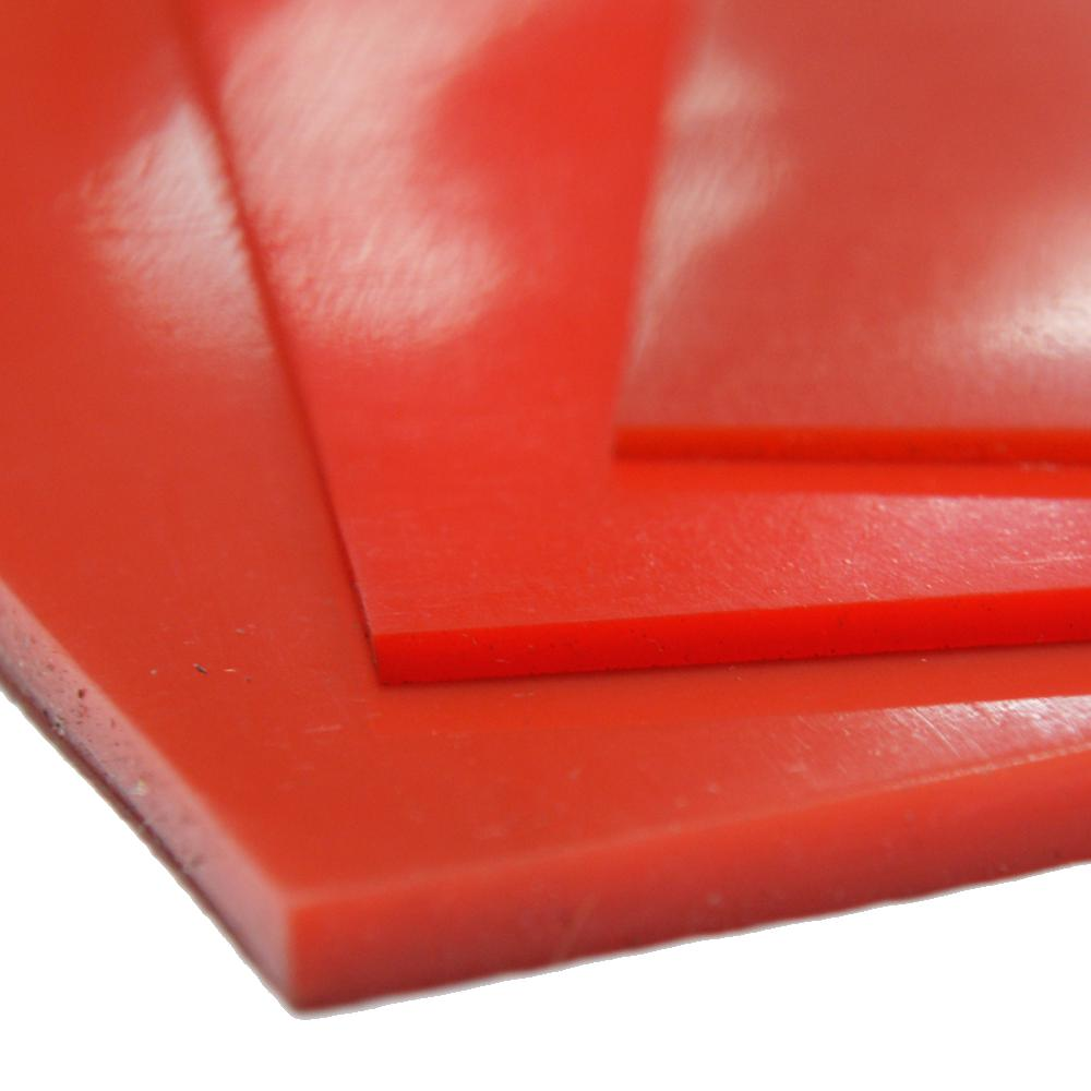 """Silicone Rubber Sheet High Temp Solid Red//Orange Commercial Grade 4/"""" x 4/"""" x 1//8/"""""""