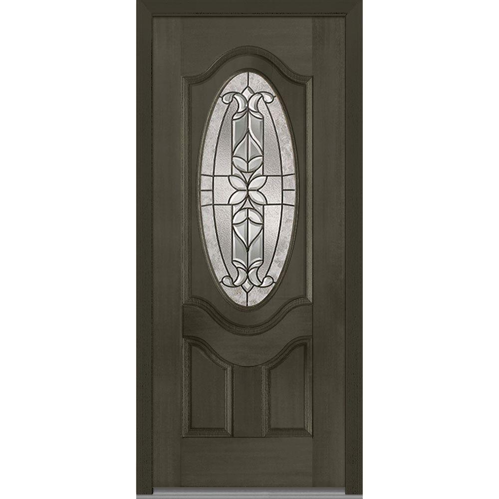 Mmi door 37 5 in x in cadence decorative glass 3 4 for Fancy front doors