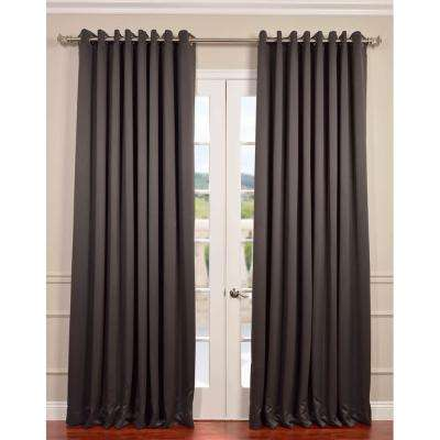 Semi-Opaque Anthracite Grey Grommet Doublewide Blackout Curtain - 100 in. W x 120 in. L (1 Panel)