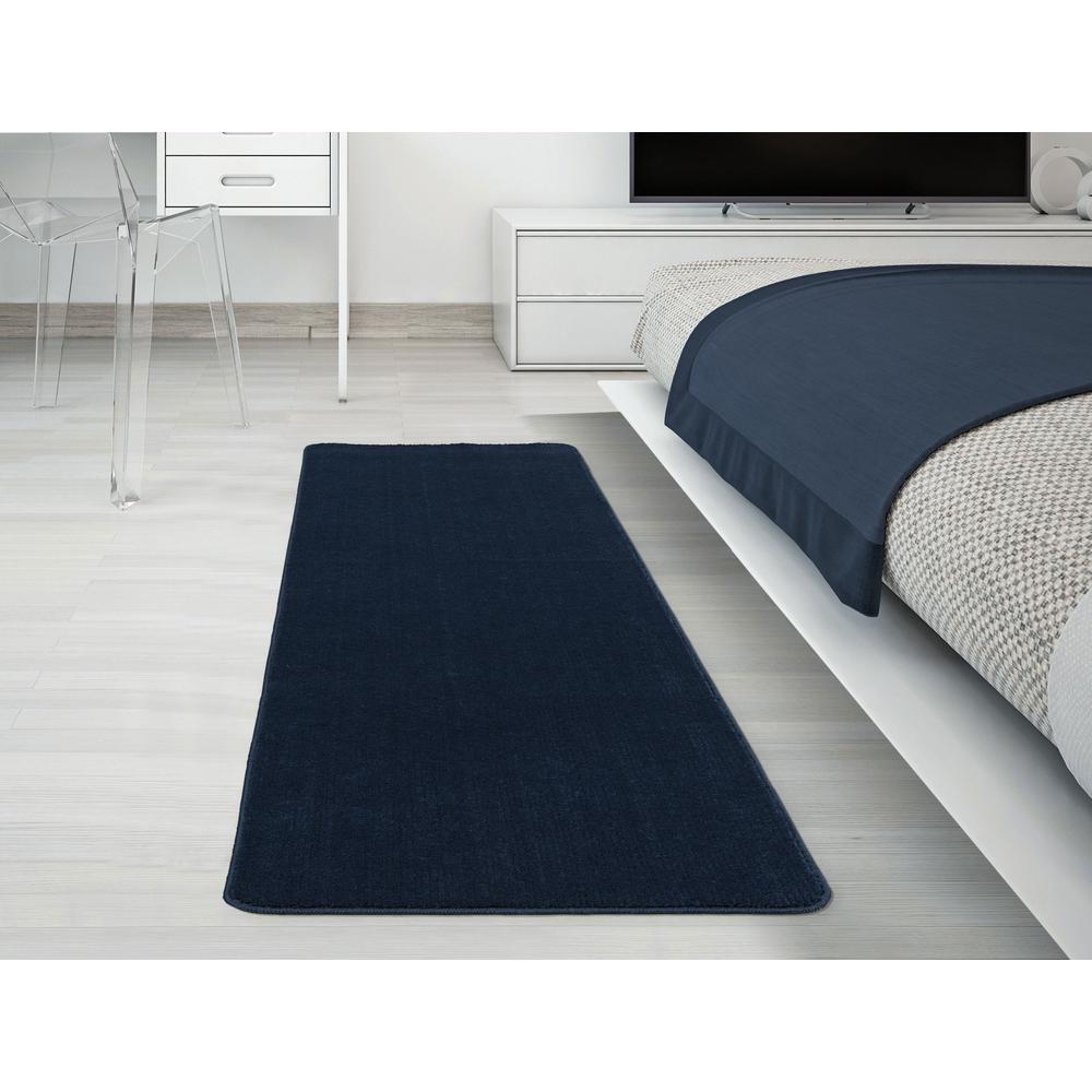 Solid Design Navy Blue 1 ft. 8 in. x 4 ft. 11 in. Non-Slip Bathroom Rug Runner