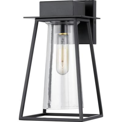 Raineville 1-Light 12 in. Matte Black Outdoor Wall Lantern with Clear Glass