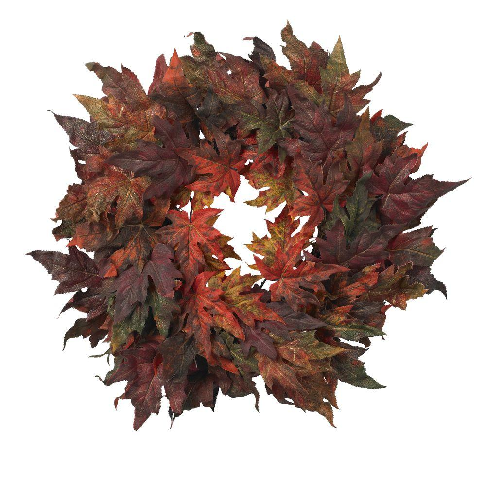 Nearly Natural 30 in. Artificial Wreath with Autumn Maple Leaves