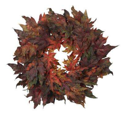 30in. Artificial Wreath with Autumn Maple Leaves