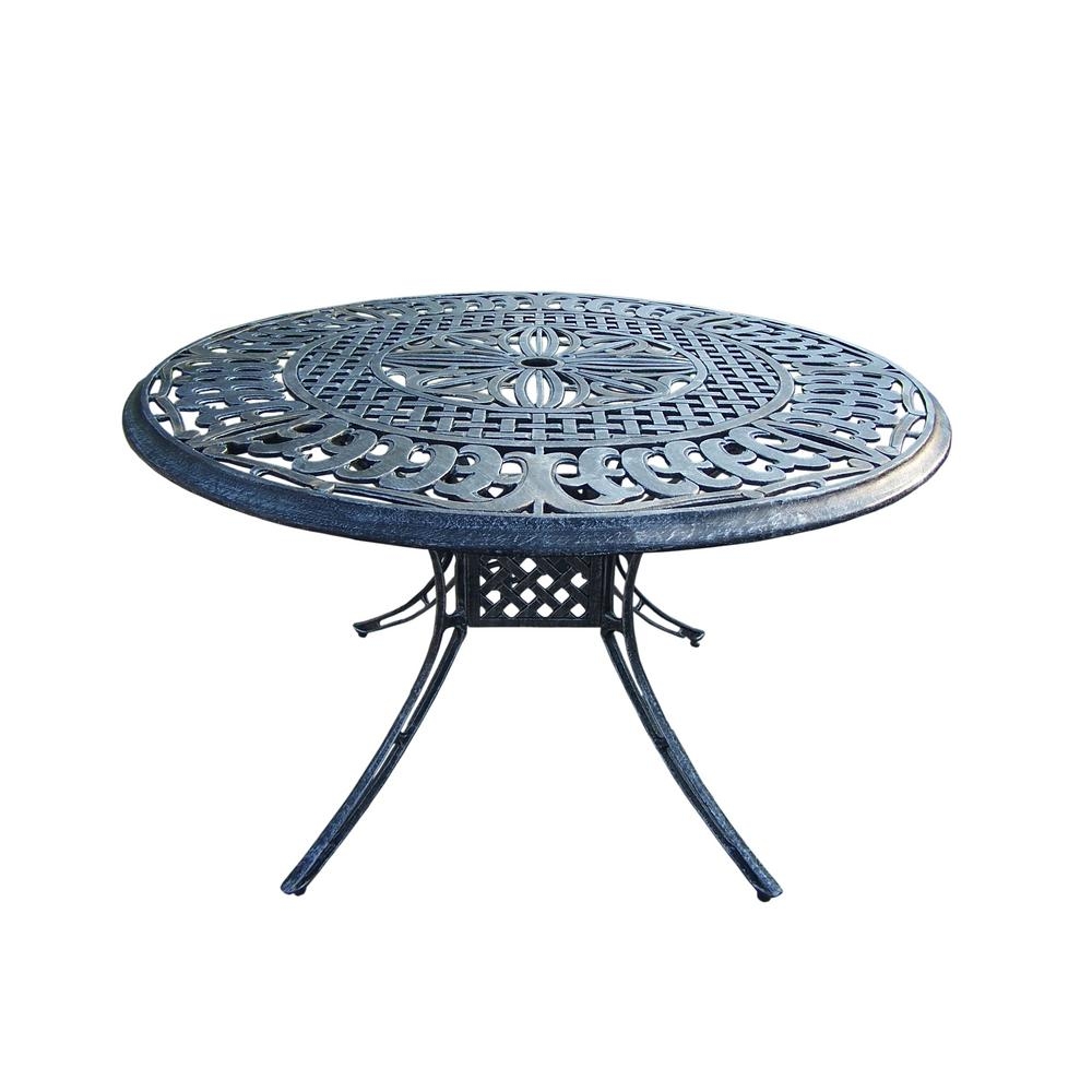 Antique Pewter 48 in. Aluminum Round Outdoor Dining Table