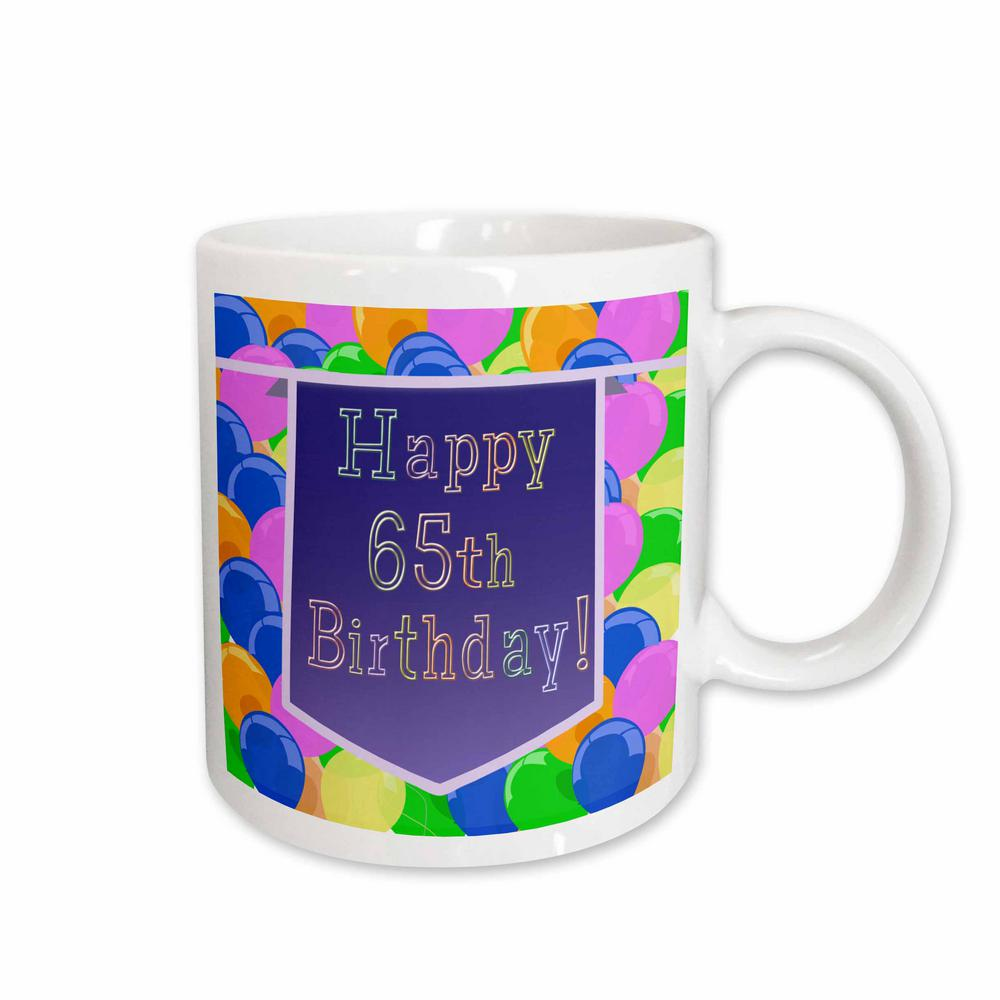3dRose Beverly Turner Birthday Design Balloons With Purple Banner Happy 65th 11 Oz White Ceramic Coffee Mug 174839 1