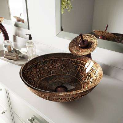 Golden Greek Vessel Sink in Browns with Waterfall Faucet in Oil Rubbed Bronze