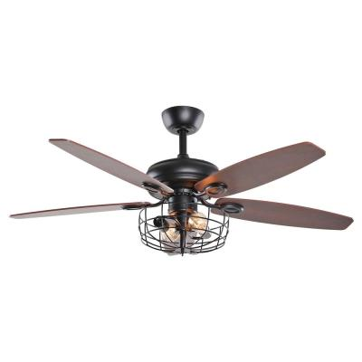 Industrial 52 in. Indoor Black Downrod Mount Ceiling Fan With Light and Remote Control