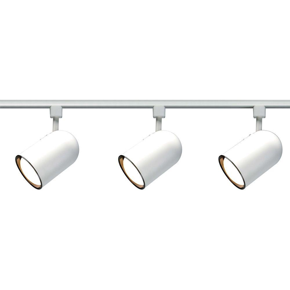 Glomar 3-Light R30 White Bullet Cylinder Track Lighting Kit  sc 1 st  The Home Depot : white track lights - azcodes.com