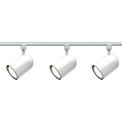3-Light R30 White Bullet Cylinder Track Lighting Kit