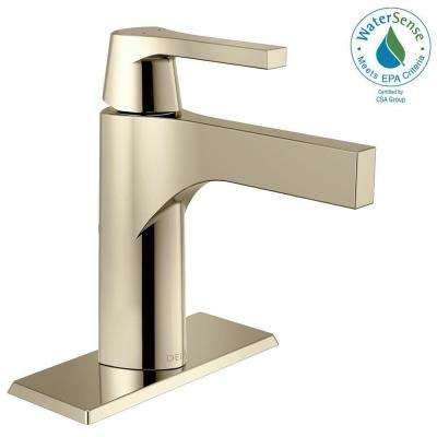 Zura Single Hole Single-Handle Bathroom Faucet with Metal Drain Assembly in Polished Nickel