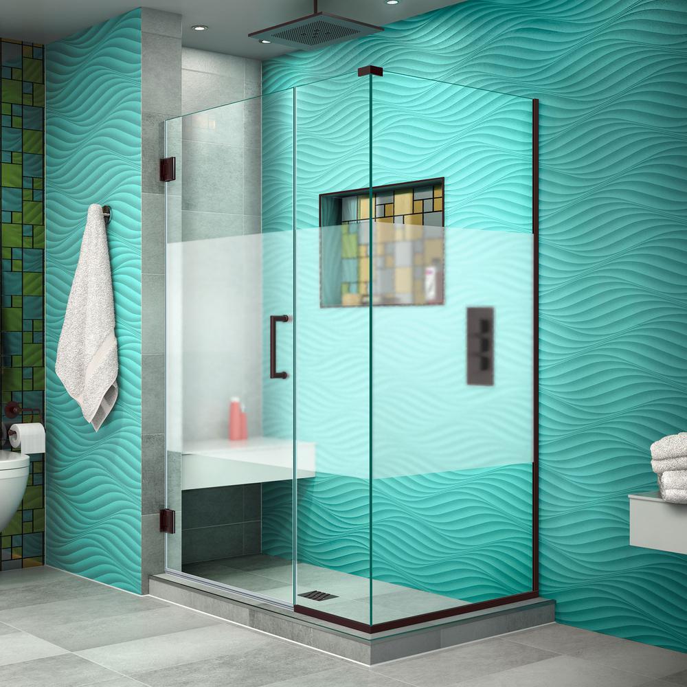 DreamLine Unidoor Plus 30-3/8in.x40-1/2in.x72in. Frameless Hinged Corner Shower Enclosure in Oil Rubbed Bronze