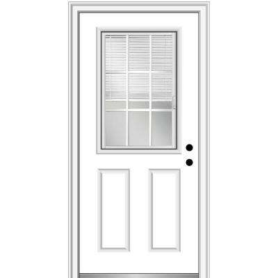 32 in. x 80 in. Internal Blinds and Grilles Left-Hand 1/2 Lite 2-Panel Clear Primed Fiberglass Smooth Prehung Front Door