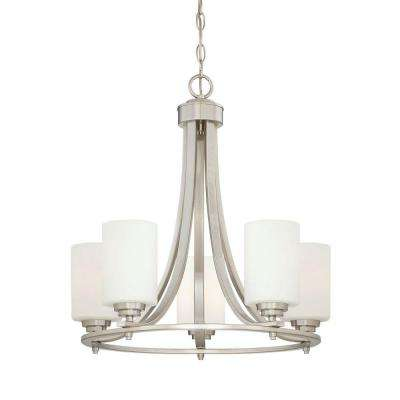 5-Lights Satin Nickel Chandelier with Etched White Glass