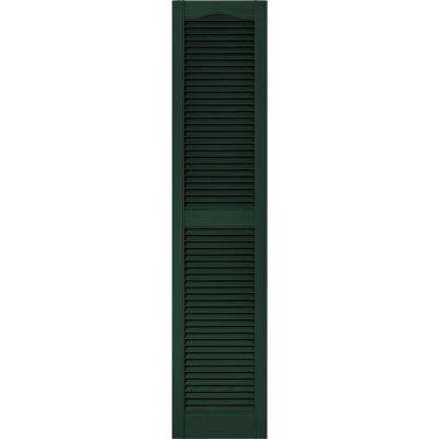 15 in. x 67 in. Louvered Vinyl Exterior Shutters Pair in #122 Midnight Green