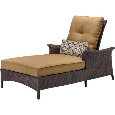 Gramercy Metal Patio Chaise Lounge with Navy Blue Cushions and Lumbar Accent Pillow