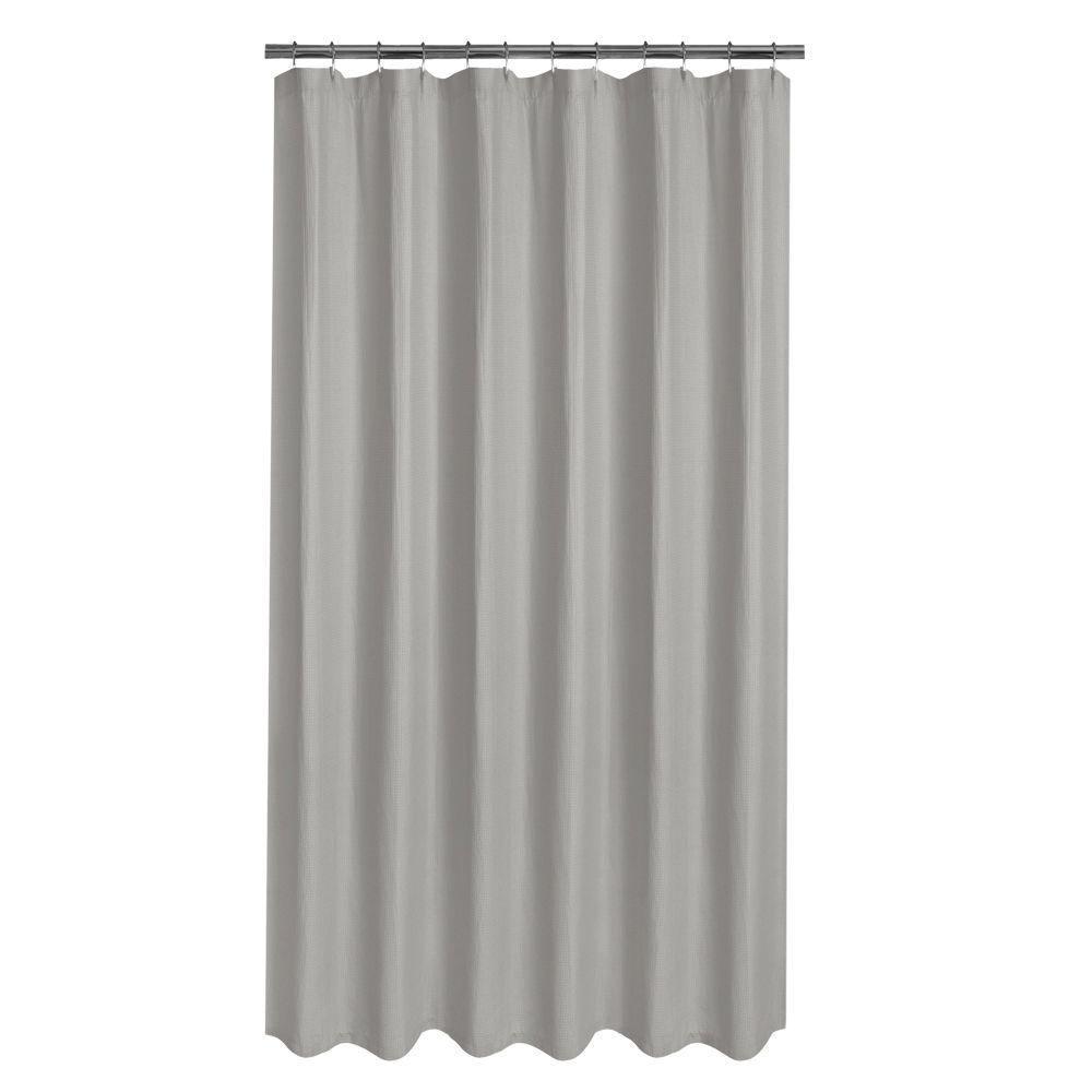 glacier bay luxury spa waffle  in fabric shower curtain in grey. glacier bay luxury spa waffle  in fabric shower curtain in grey