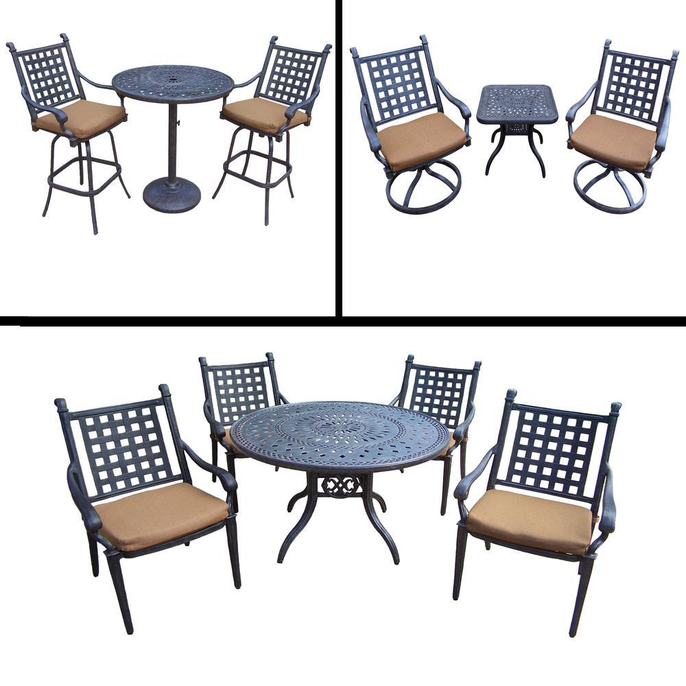 Belmont Premier 11-Piece Aluminum Outdoor Dining Set with Sunbrella Brown